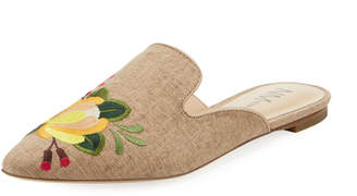 Neiman Marcus Florianna Embroidered Canvas Mule, Neutral