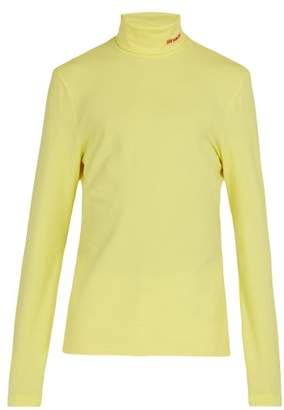 Calvin Klein Logo Embroidered Stretch Cotton Roll Neck Top - Mens - Yellow