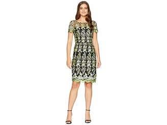 Tahari ASL Embroidered Mesh Short Sleeve Sheath Dress Women's Dress