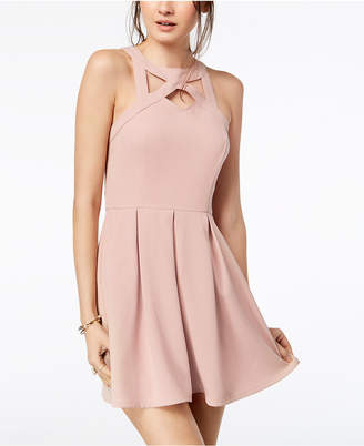 Speechless Juniors' Cage-Front Fit & Flare Dress
