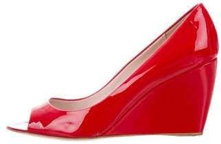 Miu Miu Patent Leather Peep-Toe Wedges