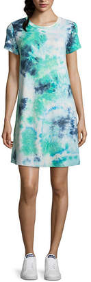 WALLFLOWER Wallflower Short Sleeve Tie Dye T-Shirt Dresses - Juniors