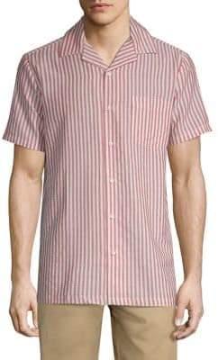 Onia Seersucker Vacation Striped Shirt