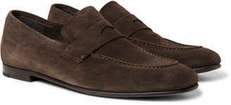 Dunhill Chiltern Suede Penny Loafers - Men - Brown