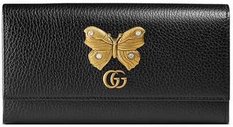 Gucci Leather continental wallet with butterfly
