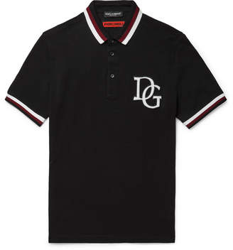 Dolce & Gabbana Stripe-Trimmed Appliqued Cotton-Pique Polo Shirt - Black