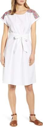 Caslon Embroidered Shoulder Cotton Dress