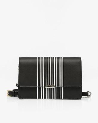Le Château Stripe Leather-Like Flapover Clutch
