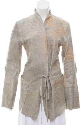 Ann Demeulemeester Leather Distressed Coat w/ Tags