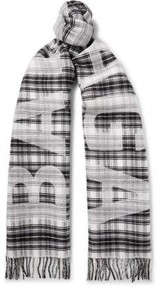 Balenciaga Logo-Print Checked Wool Scarf - Gray