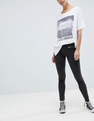 French Connection Sateen Zip Skinny Trousers
