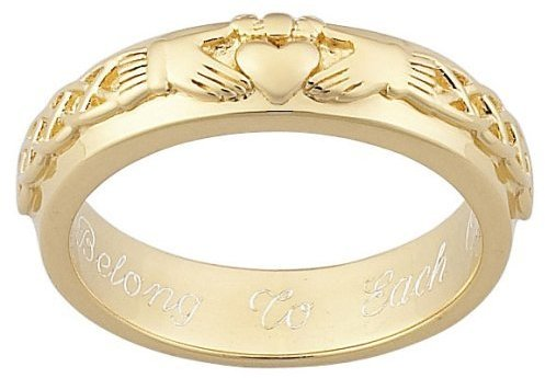 Personalized Gold over Sterling Silver Engraved Claddagh Wedding Band