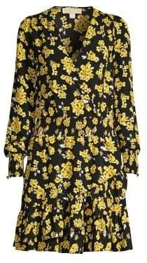 MICHAEL Michael Kors Ruffled Floral Blouson Dress