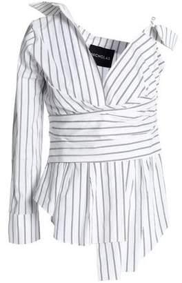 Nicholas Asymmetric Striped Cotton-Poplin Top