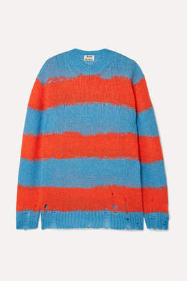 Acne Studios Kantonia Distressed Striped Knitted Sweater - Blue