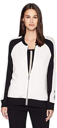 Anne Klein Women's Mesh Sleeve Zip Front Cardi