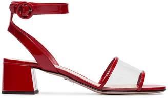 Prada red 45 PVC patent leather sandals