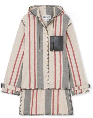 Striped Leather-trimmed Wool-canvas Hooded Jacket - Ivory