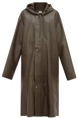 Vetements Logo Embossed Hooded Leather Raincoat - Womens - Khaki