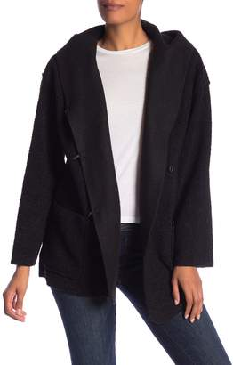 Max Studio Teddy Faux Shearling Hooded Cardigan