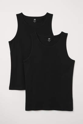 H&M 2-pack Regular Fit Tank Tops - Black