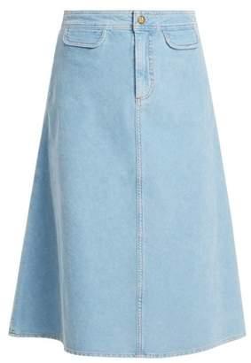 MiH Jeans Byron A Line Cotton Corduroy Midi Skirt - Womens - Light Blue