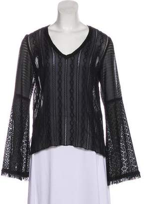 Andrew Gn Lace-Accented Long Sleeve Top
