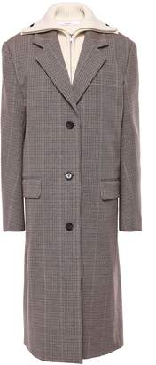 Pushbutton Ribbed Knit-paneled Prince Of Wales Checked Cotton-blend Coat