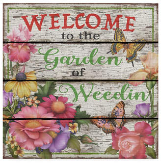 """Jean Plout 'Country Garden Sign' Canvas Art - 14"""" x 14"""""""