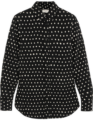 Saint Laurent - Polka-dot Crepe De Chine Shirt - Black $1,190 thestylecure.com