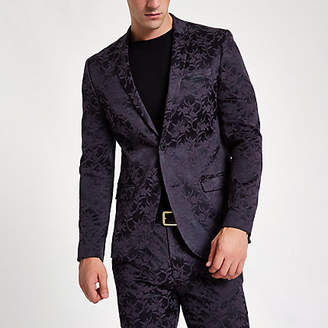 River Island Purple floral skinny fit suit jacket