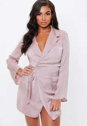 363fead1b6 Missguided Mauve Hammered Satin Tie Side Blazer Dress