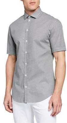 Emporio Armani Men's Neat-Print Short-Sleeve Sport Shirt