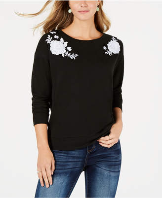 Style&Co. Style & Co Petite Floral-Embroidered Sweater, Created for Macy's