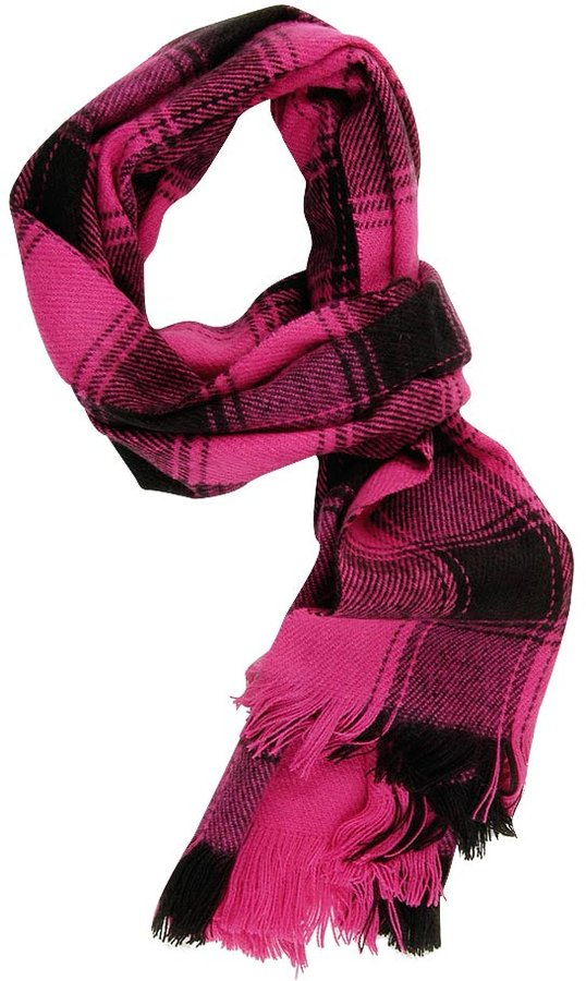 Hot Pink Plaid Flannel Scarf