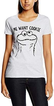 Sesame Street Women's Me Want Cookie Short Sleeve T-Shirt,(Manufacturer Size:Medium)