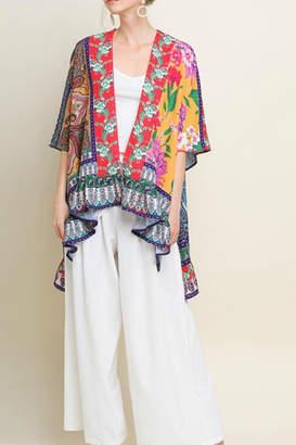 Umgee USA Printed Open-Front Kimono