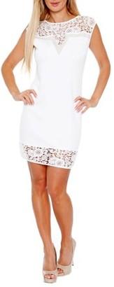 White Mark Women's Women's Lace Trim Mini Dress