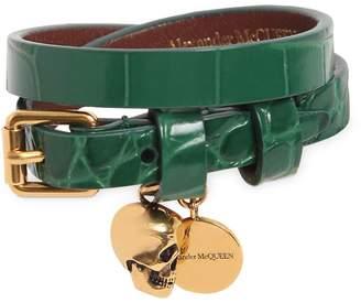 Alexander McQueen Double Croc Embossed Leather Bracelet