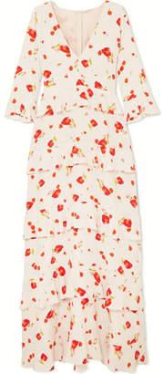 Vilshenko Elizabeth Floral-print Crepe De Chine Maxi Dress - Cream