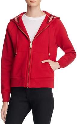 Burberry Zip Front Hooded Sweatshirt