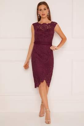 688dac3a5705 Next Lipsy Petite VIP Lace Assymetric Bodycon Dress - 6