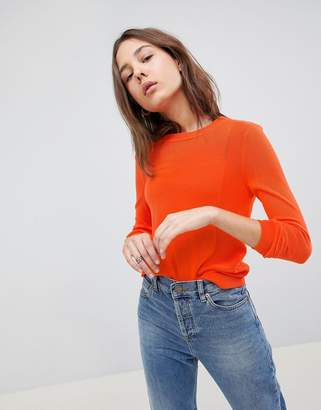 Asos Design Sweater With Crew And Panel Detail