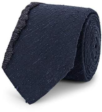 Title of Work Men's Yarn-Edge Bouclé Silk Necktie - Navy