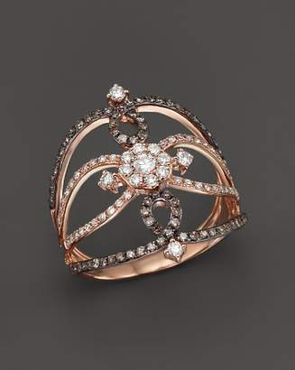 KC Designs Champagne and White Diamond Ring in 14K Rose Gold