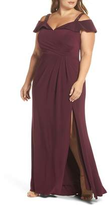 Xscape Evenings Embellished Off the Shoulder Knit Gown