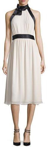 Kate SpadeKate Spade New York Sleeveless Satin-Trim Cocktail Dress, Light Shale