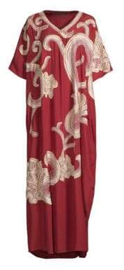 Natori Floral Scroll Embroidered Caftan