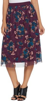 Du Jour Pull-On Lined Floral Printed Mesh Skirt