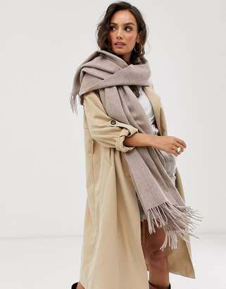 Asos Design DESIGN oversized wool scarf with tassels in camel